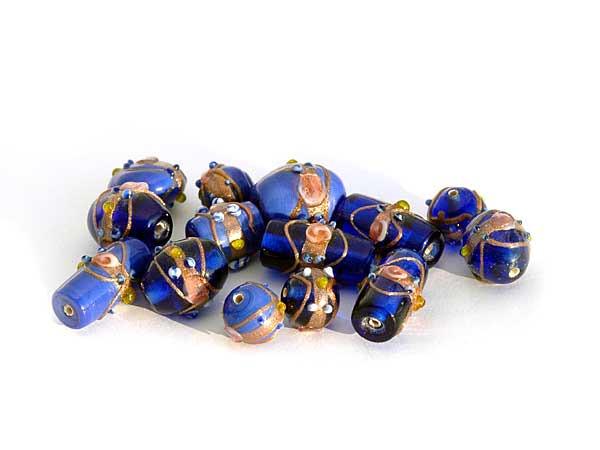 blauer wedding cake beads Mix 150 g Lampwork beads