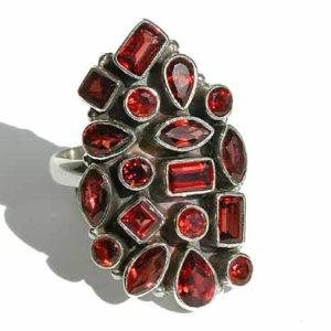 Granat Ring 925 Silber