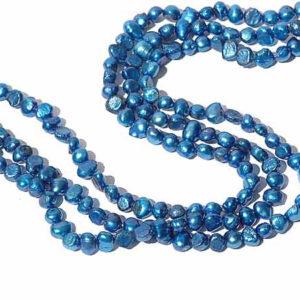 blauer Zuchtperlen Strang 4049