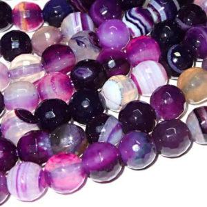 facettierte Achat Perlenstrang lila Kugeln 6 mm