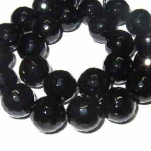 Achat Perlen schwarz facettiert