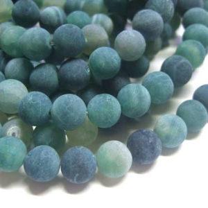 Achat Perlenstrang Kugeln 10 mm dunkelgrün gef. matt 13076