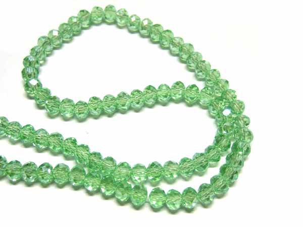 Perlen Strang facettierte Glasrondelle 6 * 4 mm Peridot AB