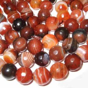 Achat Perlen rotbraun Kugeln 8 mm