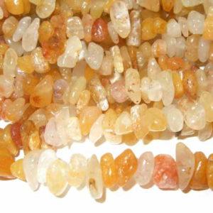 Aventurin Perlenkette gelb Splitterkette 85 cm
