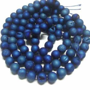 Geode Drusen Achat Perlen Strang electroplated blau 10 mm