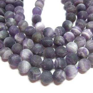 Amethyst Perlen Strang matte Kugeln 10 mm