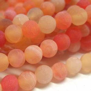 Achat Perlen matt orange Strang Kugeln 6 mm