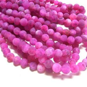 matter Achat Perlen Strang pink Kugeln 6 mm