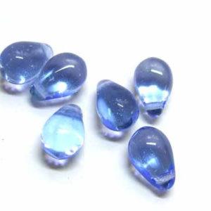 20 Tropfen Glas Perlen Aqua 7 *5 mm
