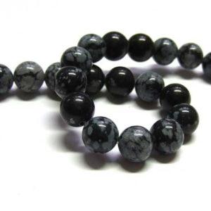 Schneeflocken Obsidian Perlen