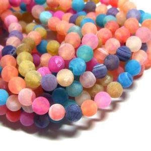matter Achat Perlen Strang pink-bunt Kugeln 8 mm