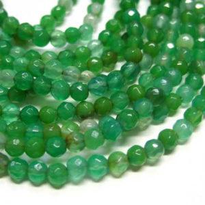 facettierter Achat Perlen Strang grasgrün Kugeln 4 mm