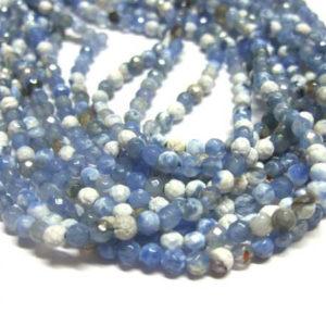 facettierter Achat Perlenstrang weiss-blau Kugeln 4 mm