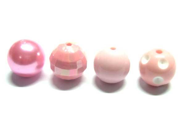 20 Acrylperlen 20 mm farbig sortiert rosa