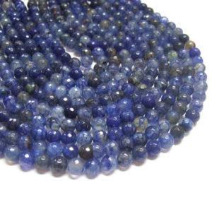 facettierter Achat Perlen Strang dunkelblau Kugeln 8 mm