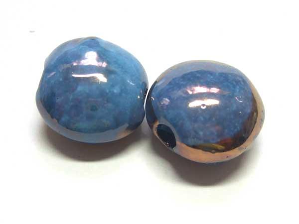 Keramik Perle Taler blau 20 mm