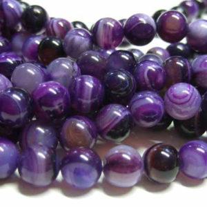 Achat Perlen für Schmuck lila Kugeln 8 mm