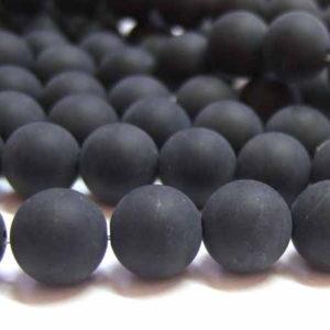 matter Achat Perlen Strang schwarz Kugeln 6 mm