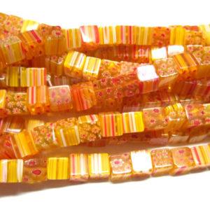 oranger Strang Millefiori Würfel 8 mm
