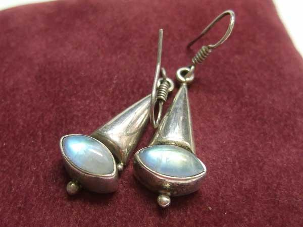 Regenbogen Mondstein Ohrringe 925-Silber 15756