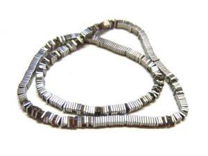 Hematite Perlen Strang Quadrate 4 mm platin 15759