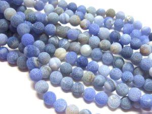 gefrosteter Achat Perlen Strang Kugeln 10 mm blau