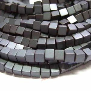 matte Hämatitperlen Würfel 3 mm anthrazit matt