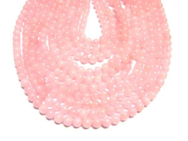 Rosenquarz Perlen Strang Kugeln 6 mm
