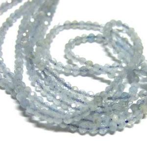 Aquamarin Perlen Strang facettierte Kugeln 2 mm