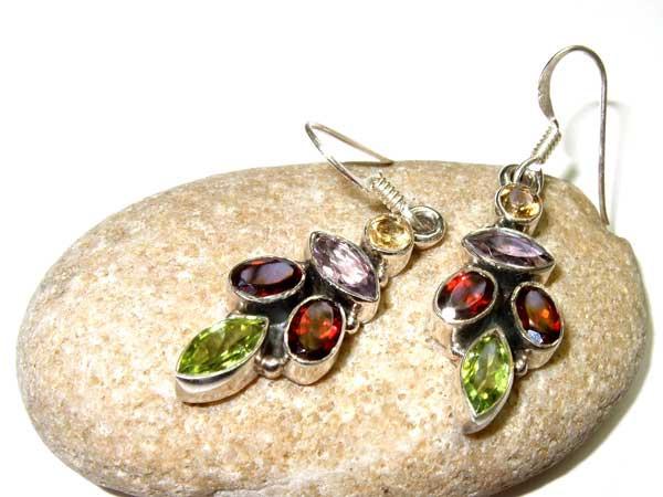 Silber Ohrringe mit Granat Peridot Citrin