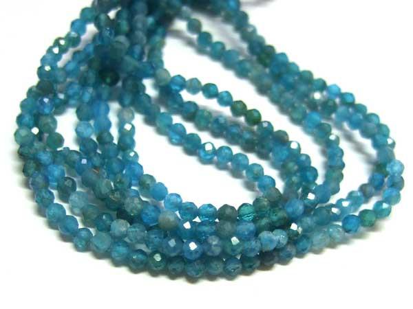 Apatit Perlen Strang facettierte Kugeln 2 mm blau