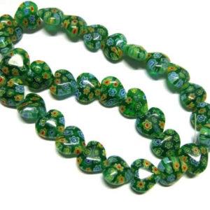 Strang Millefiori Herzen 12 mm grün