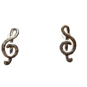 Notenschlüssel Ohrstecker 925-Silber