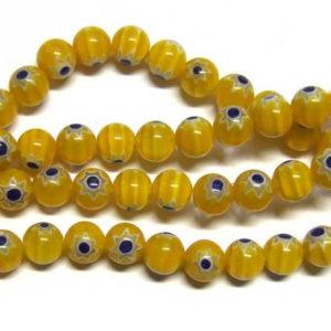 Strang Millefiori Rundperle gelb 8 mm