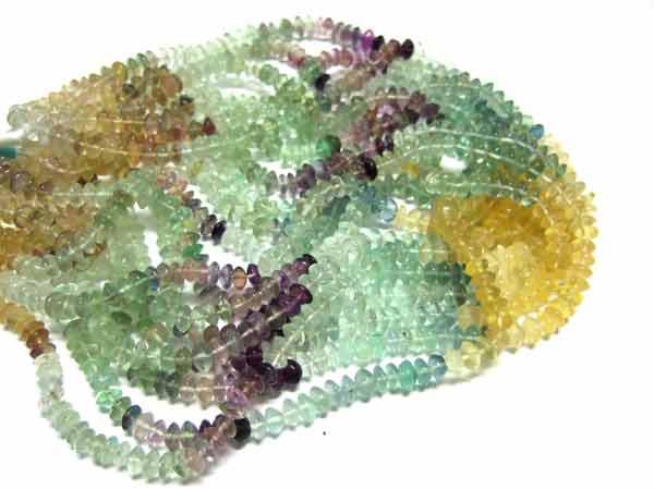 Fluorit Perlen Strang Buttons 6 mm