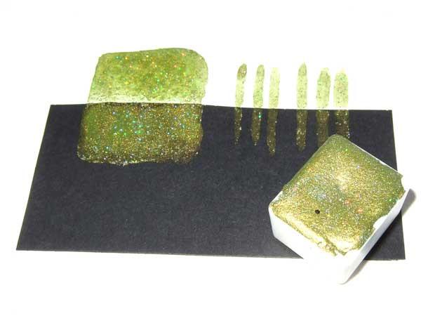 handgemachte Schimmer Aquarellfarbe holo-limonengrün