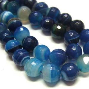 facettierter Achat Perlenstrang blau Kugeln 8 mm