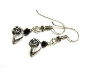 selbstgestalte Ohrringe mit Silberperle Ammonit