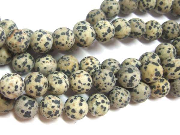 Dalmatiner-Jaspis Strang Kugeln 12 mm matt