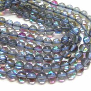 opalisierende Glasperlen grau 8 mm