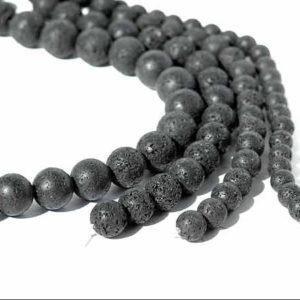 Lava Perlen Strang 8 mm Kugeln schwarz