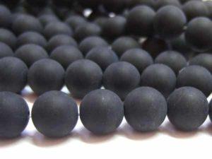 schwarze, matte Achatperlen