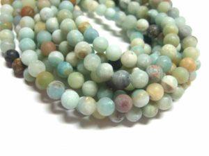 Amazonit Perlen gefrostet