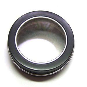 runde Metallbox mit Schaufenster 8 cm