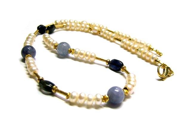 Aquamarin Perlen Iolith Perlen und Zuchtperlen Kette