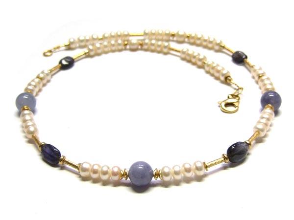 Zuchtperlenkette mit Aquamarin Perlen und Iolith Perlen DIY