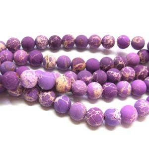 gefrosteter Regalit Perlen Strang Kugeln 10 mm lila