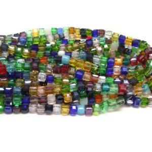 Glasperlen Strang Würfel 6 mm bunt 15751