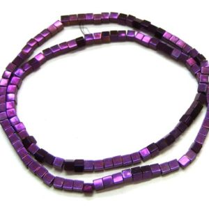 Hämatit Perlen Strang Würfel 3 mm violett glänzend
